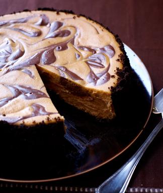 Chocolate Swirled Pumpkin Cheesecake (courtesy of MomsWhoThink.com)