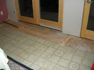 Reboarded floor with axe