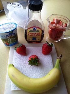 Happy banana strawberry smoothie